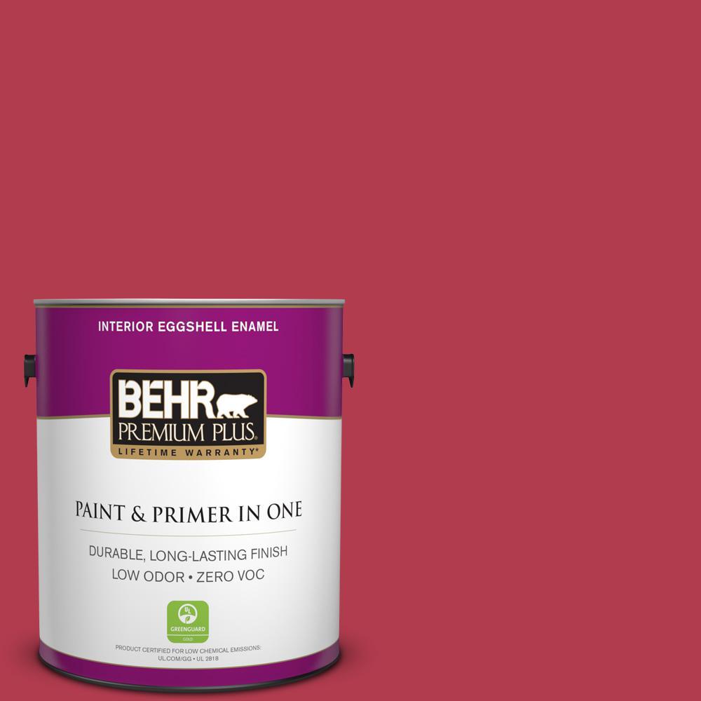 BEHR Premium Plus 1-gal. #HDC-SM14-10 Intrigue Red Zero VOC Eggshell Enamel Interior Paint