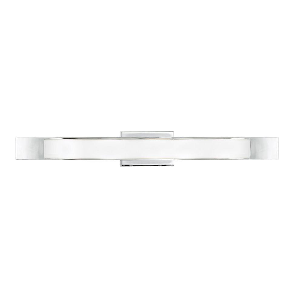 LBL Lighting Dover 5-Light White Polished Chrome Vanity Light The LBL Lighting Dover 1-Light Vanity Light's linear shape offers a perfect balance of glass and metal. This fixture may be mounted horizontally or vertically. 40-Watt G9 base halogen lamps are included and is ETL listed for safety.