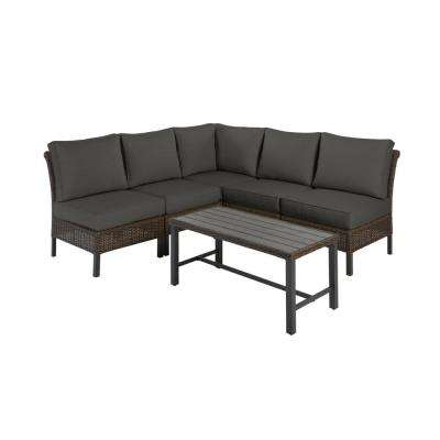 Harper Creek Brown 6-Piece Steel Outdoor Patio Sectional Sofa Seating Set with CushionGuard Graphite Dark Gray Cushions