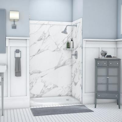 Elegance 36 in. x 48 in. x 80 in. 9-Piece Easy Up Adhesive Alcove Shower Wall Surround in Calacatta White
