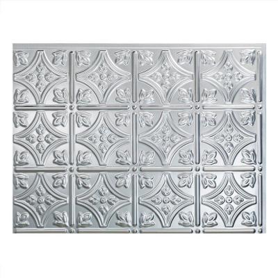 18.25 in. x 24.25 in. Brushed Aluminum Traditional Style # 1 PVC Decorative Backsplash Panel