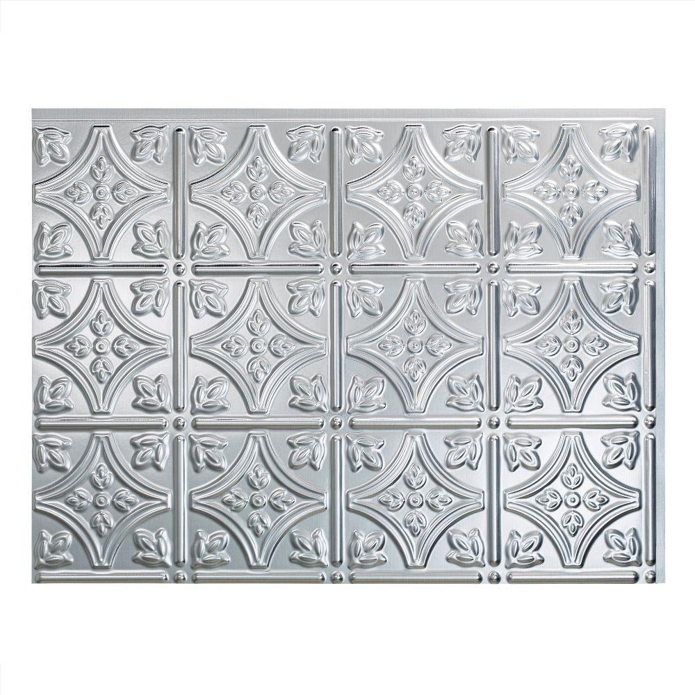 18.25 in. x 24.25 in. Brushed Aluminum Traditional Style # 1 PVC Decorative Backsplash Panel