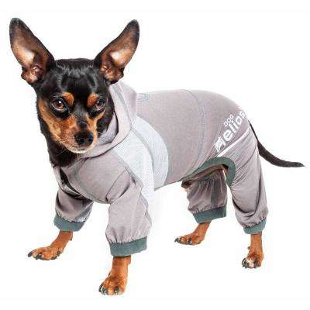 X-Large Grey Namastail Breathable Full Body Performance Yoga Dog Hoodie Tracksuit