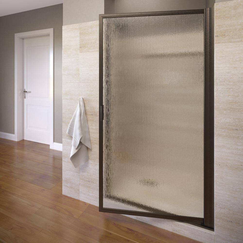 Deluxe 34-7/8 in. x 63-1/2 in. Framed Pivot Shower Door in Oil Rubbed Bronze