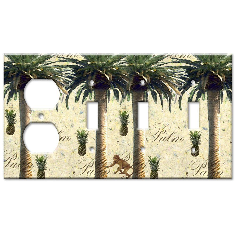 Art Plates Palm Tree Outlet/Triple Switch Combo Wall Plate