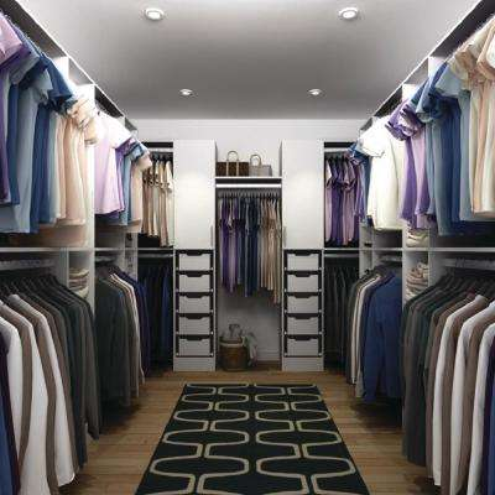 Horizon 165 in. D x 150 in. W x 84 in. H Melamine Walk-in Closet System Kit in White
