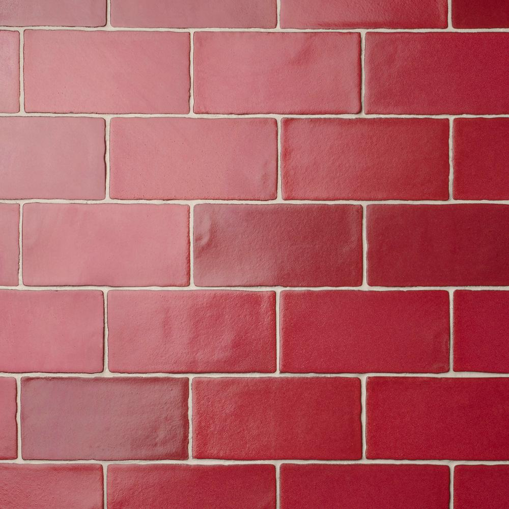 Merola Tile Antic Special Red Moon 3 in. x 6 in. Ceramic Wall Subway Tile (1 sq. ft. / pack), Red Moon / Medium Sheen was $21.86 now $14.37 (34.0% off)