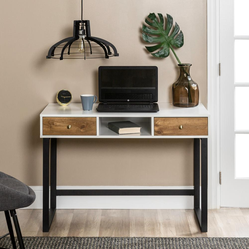 44 In. White And Barnwood Modern 2-Tone Desk With Drawers