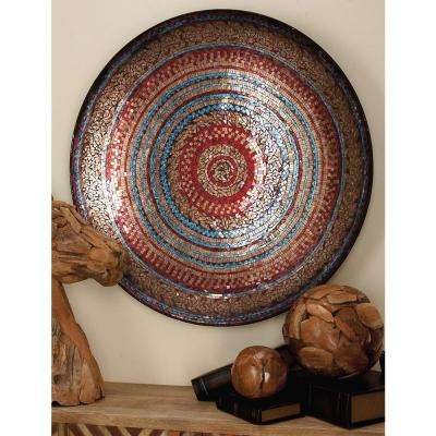 36 in. x 36 in. Traditonal Iron and Glass Decorative Red Mosaic Wall Platter