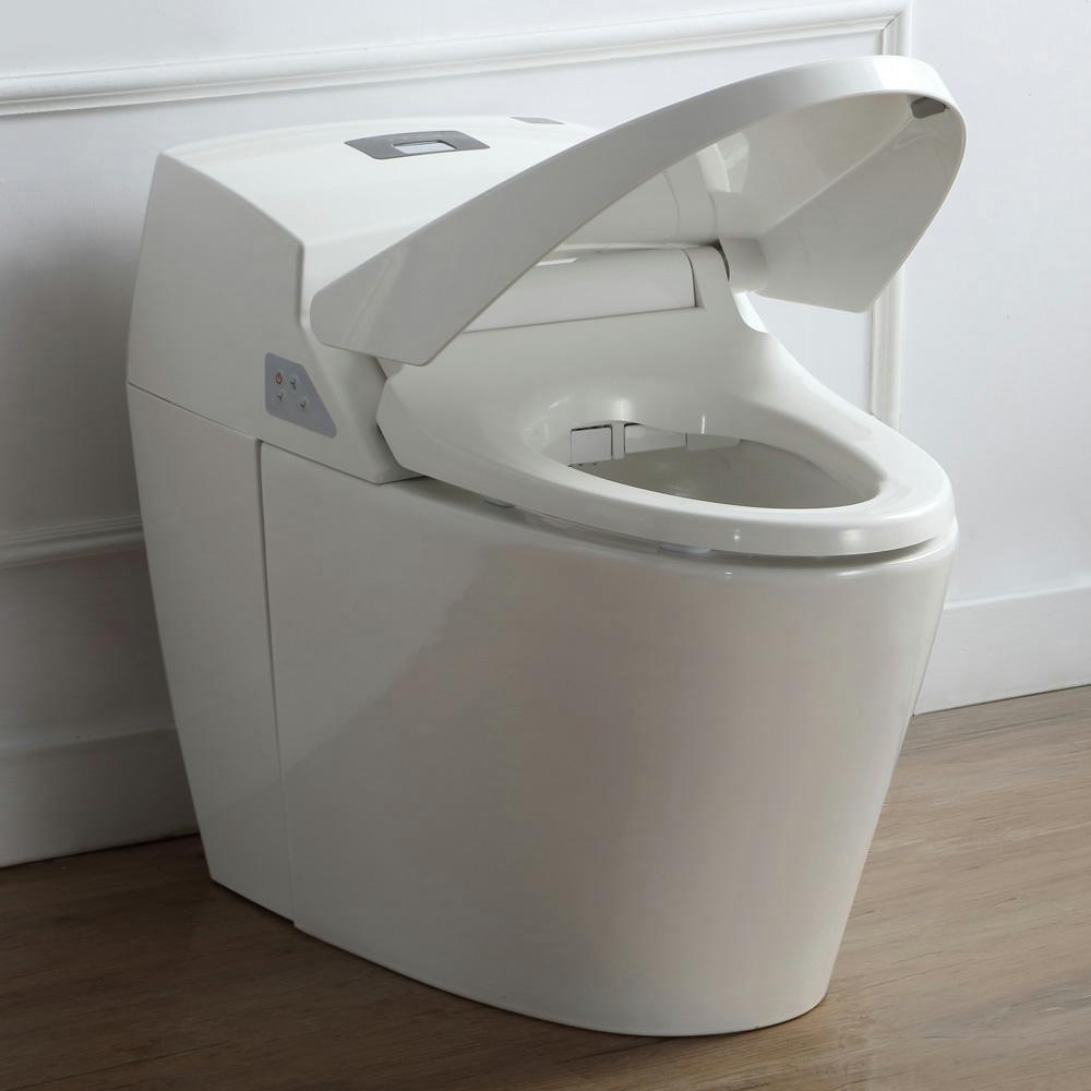 OVE Decors Smart 1-Piece 1.6 GPF Single Flush Elongated Toilet and ...