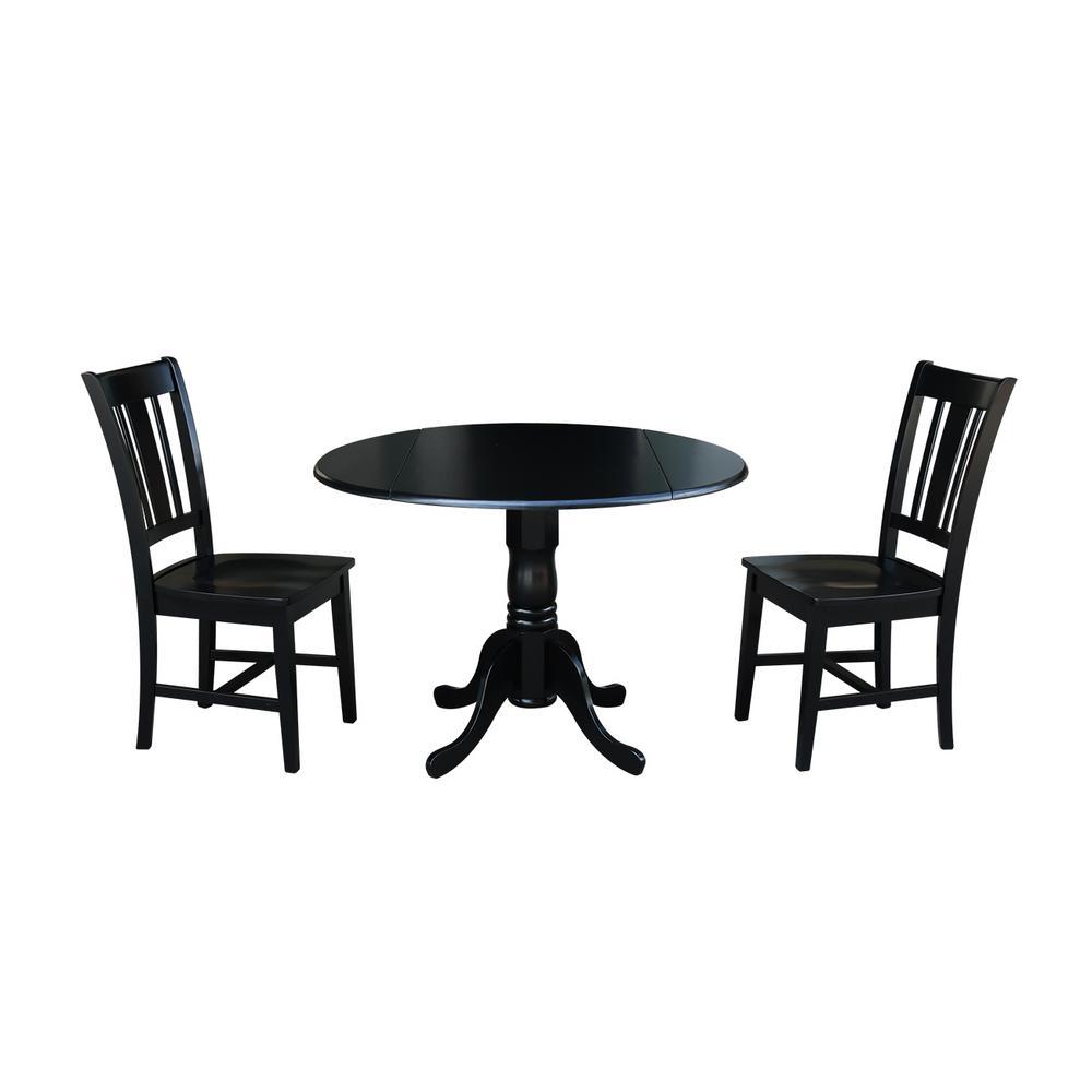Solid Wood 3-Piece Black Dropleaf Dining Set