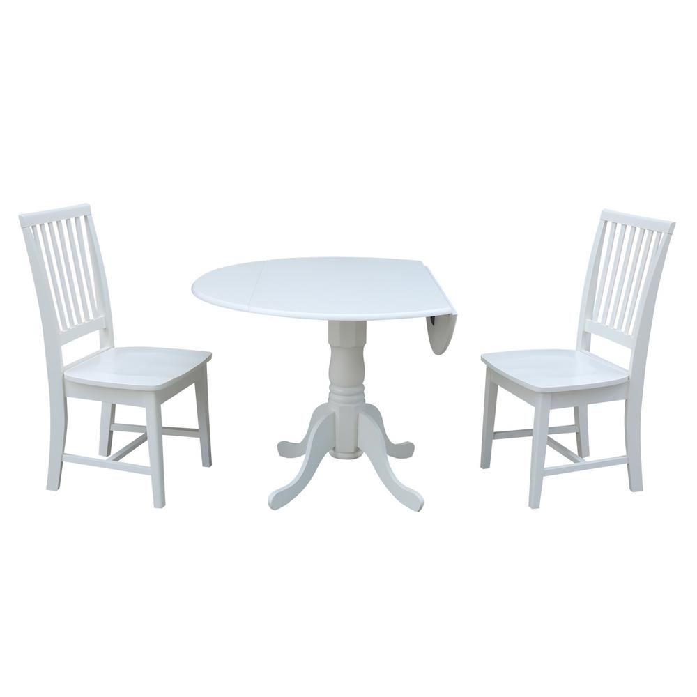 International Concepts 3 Piece 42 In Pure White Drop Leaf Table And
