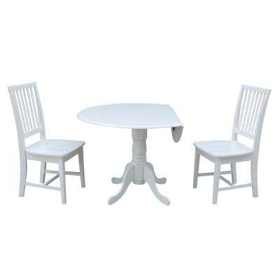 3-Piece 42 in. Pure White Drop-leaf Table and Mission Chair Set