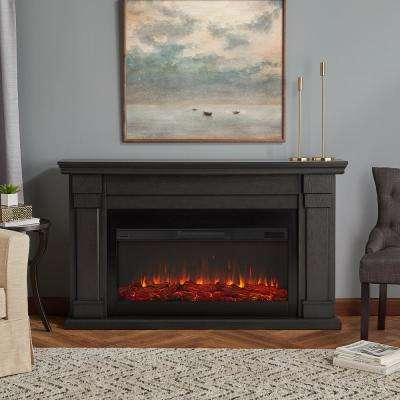 Carlisle 64 in. Freestanding Electric Fireplace in Gray
