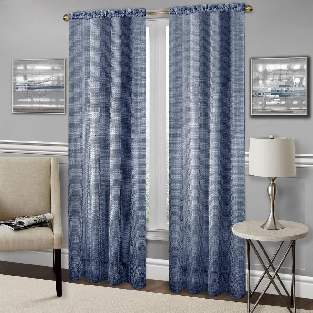 Navy Polyester Rod Pocket Curtain