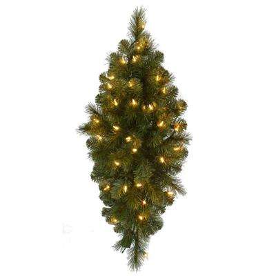 32 in. Pre-Lit LED Wesley Pine Swag x 133 Tips with 35 Plug-In Indoor/Outdoor Warm White LED Lights