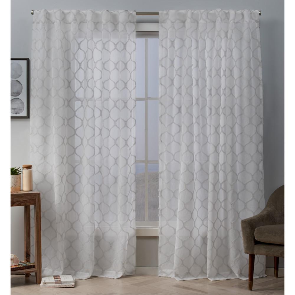 Bradford 54 in. W x 84 in. L Sheer Hidden Tab Top Curtain Panel in Dove Gray (2 Panels)