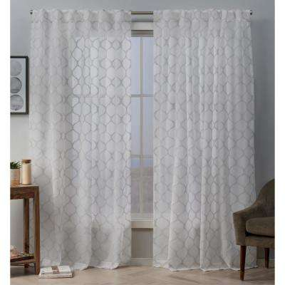 Bradford 54 in. W x 84 in. L Sheer Woven Ogee Embellished Hidden Tab Top Curtain Panel in Dove Grey (2-Panel)