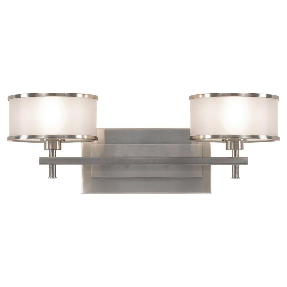 Sea Gull Lighting Casual Luxury 18.125 in. W.  2-Light Brushed Steel Vanity Light