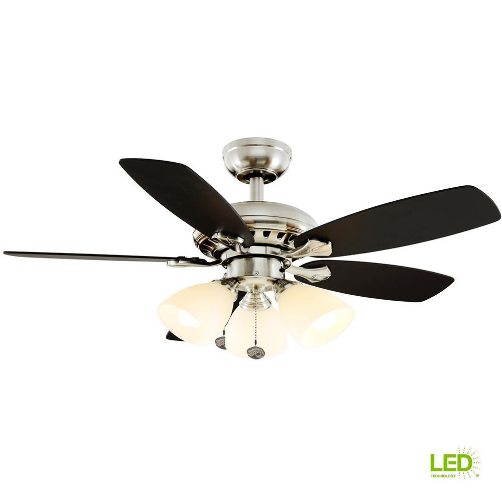 Hampton Bay Brookedale 60 In Indoor Brushed Nickel Ceiling Fan With Hunter Wiring Diagram On A Without Light Led