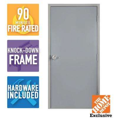 36 in. x 80 in. Fire-Rated Gray Left-Hand Flush Steel Commercial Door with Knock Down Frame and Hardware
