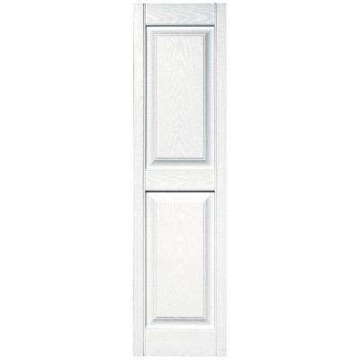 15 in. x 55 in. Raised Panel Vinyl Exterior Shutters Pair in #001 White