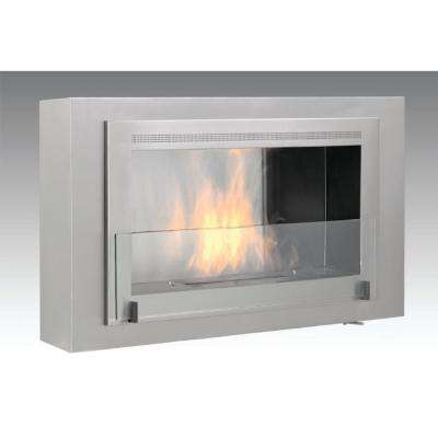 Montreal 41 in. Ethanol Wall Mounted Fireplace in Stainless Steel