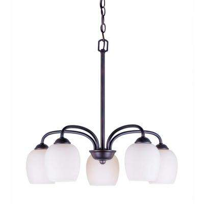 5 Light Antique Bronze Chandelier with Satin Opal Glass Shade