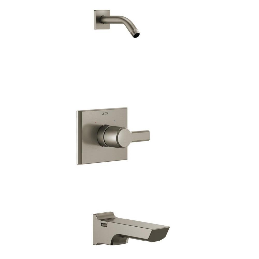 Pivotal 1-Handle Wall-Mount Tub and Shower Trim Kit in Stainless (Valve