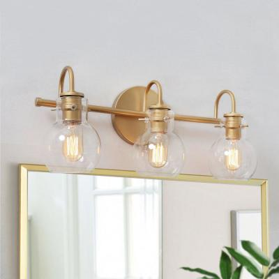 Robb 3-Light Gold Globe Vanity Light Interior Bath Bar Light with Clear Glass Shades