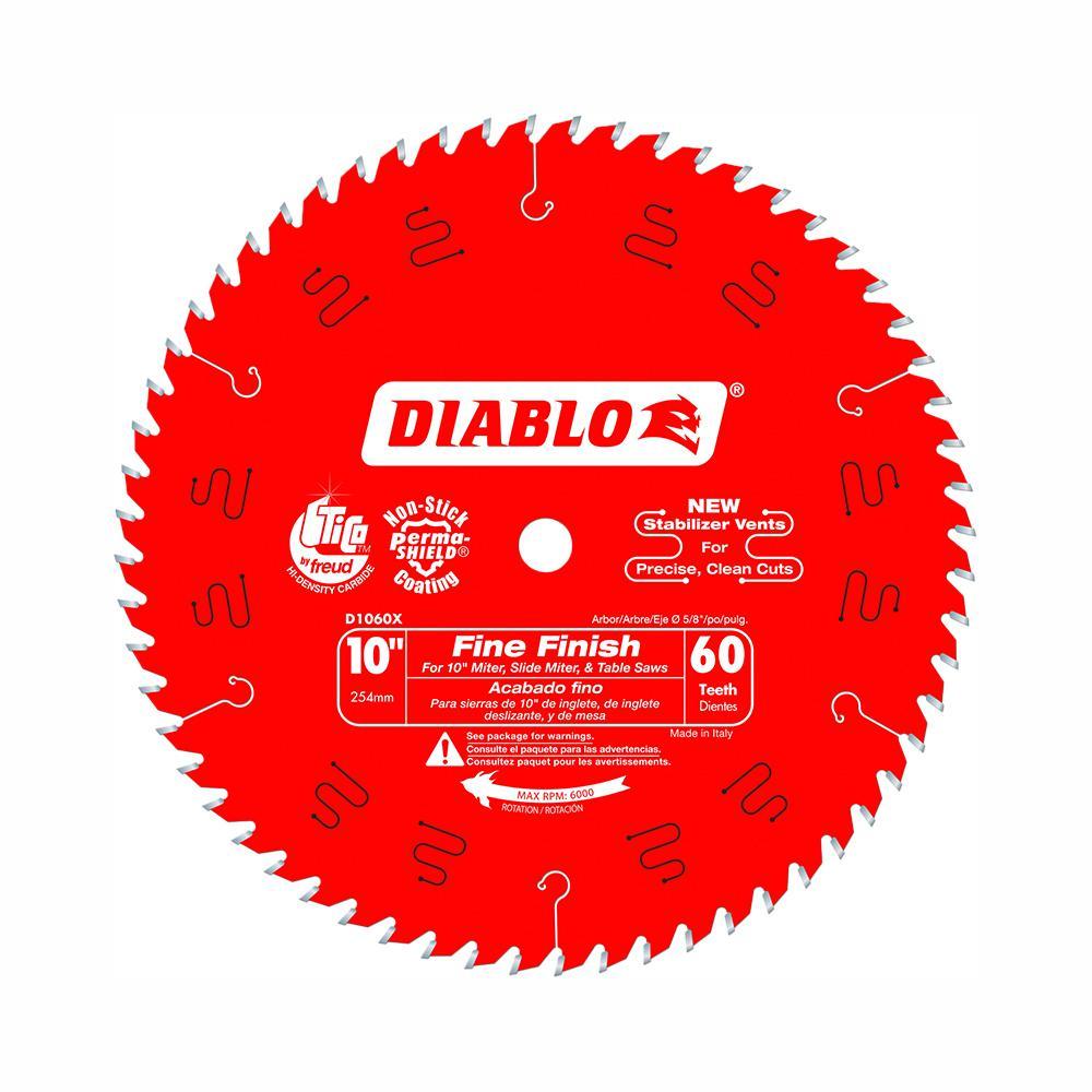 Diablo 10 in  x 80-Teeth Ultra Finish Saw Blade-D1080X - The Home Depot