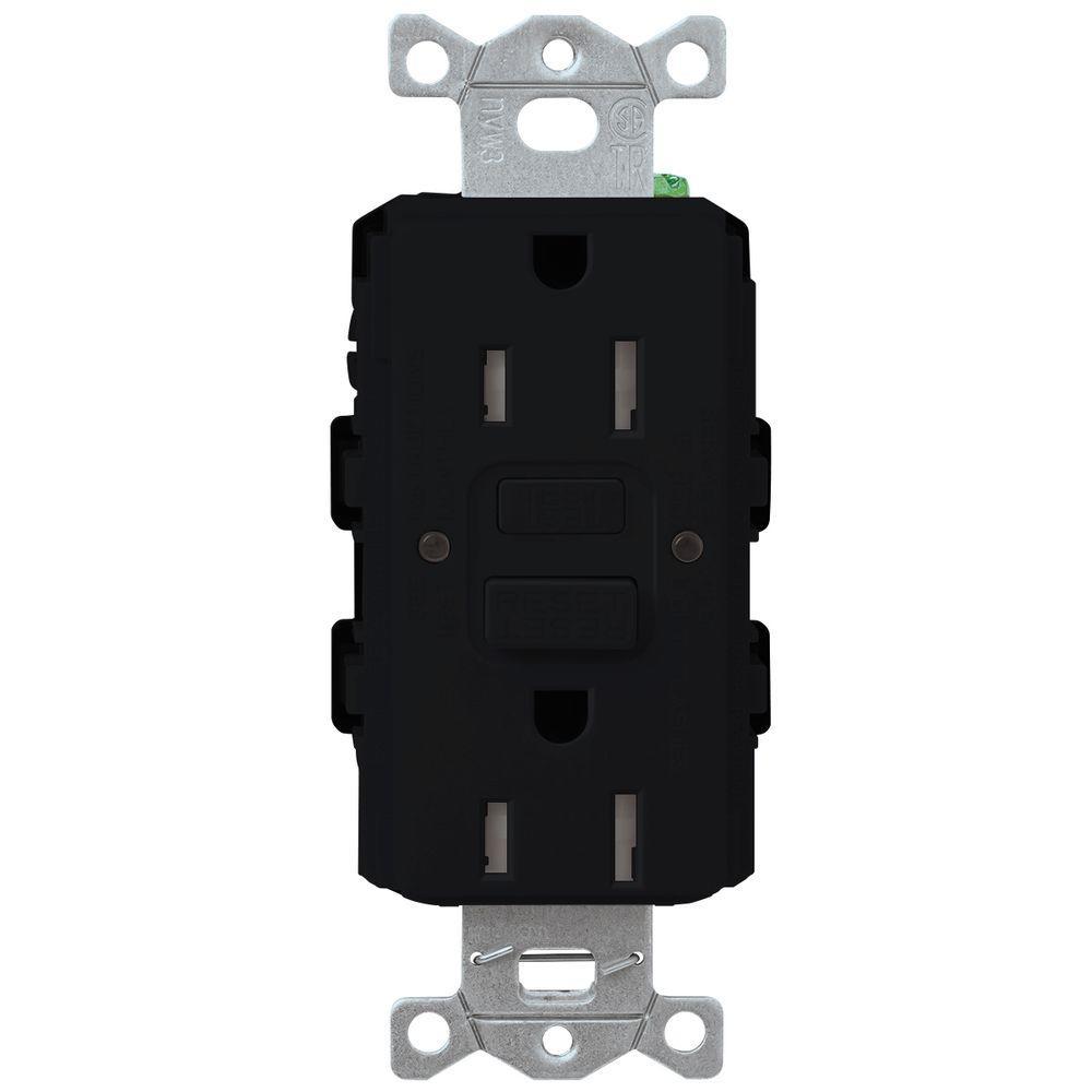 Claro 15-Amp Tamper-Resistant GFCI Duplex Receptacle - Black