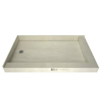 Redi Base 37 in. x 54 in. Double Threshold Shower Base with Left Drain and Polished Chrome Drain Plate