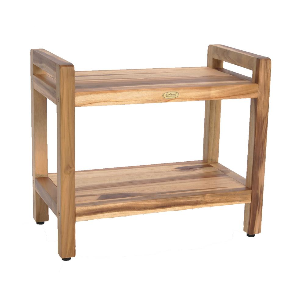EcoDecors EarthyTeak Classic 24 in. Shower Bench with Shelf And LiftAide Arms