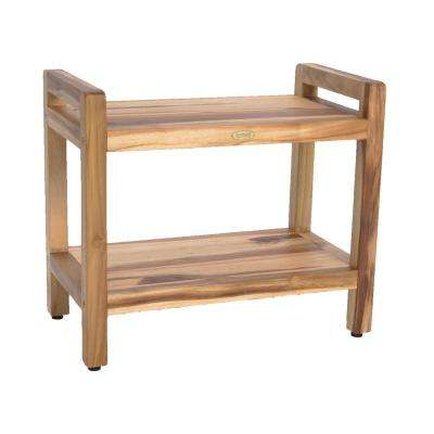 EarthyTeak Classic 24 in. Shower Bench with Shelf And LiftAide Arms