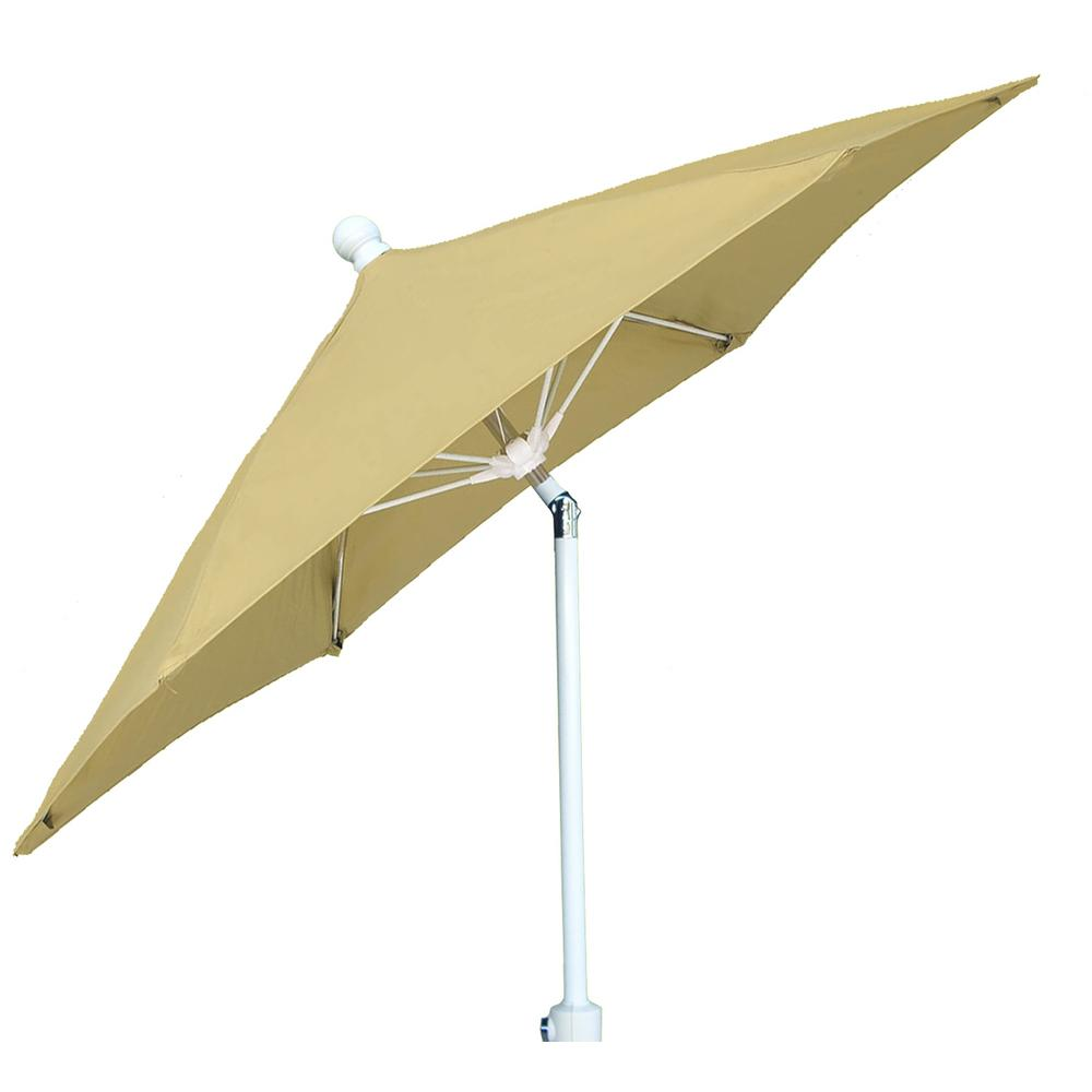 7.5 ft. White Pole Tilt Terrace Patio Umbrella in Beige
