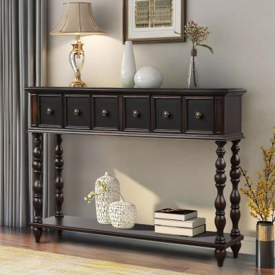 Black Rustic Console Table with Drawers and Bottom Shelf