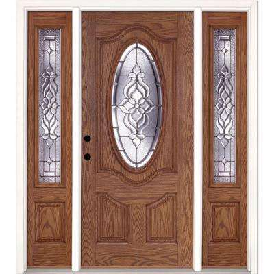 63.5 in.x81.625 in. Lakewood Zinc 3/4 Oval Lite Stained Light Oak Right-Hand Fiberglass Prehung Front Door w/ Sidelites