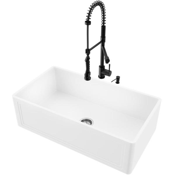 Vigo All In One Farmhouse Apron Front Matte Stone 33 In Single Bowl Kitchen Sink With Faucet In Matte Black Vg15858 The Home Depot