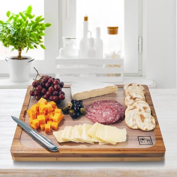 Seville Classics Bamboo Cutting Board With 7 Color Coded Flexible Cutting Mat Set With Food Icons Bmb17024 The Home Depot