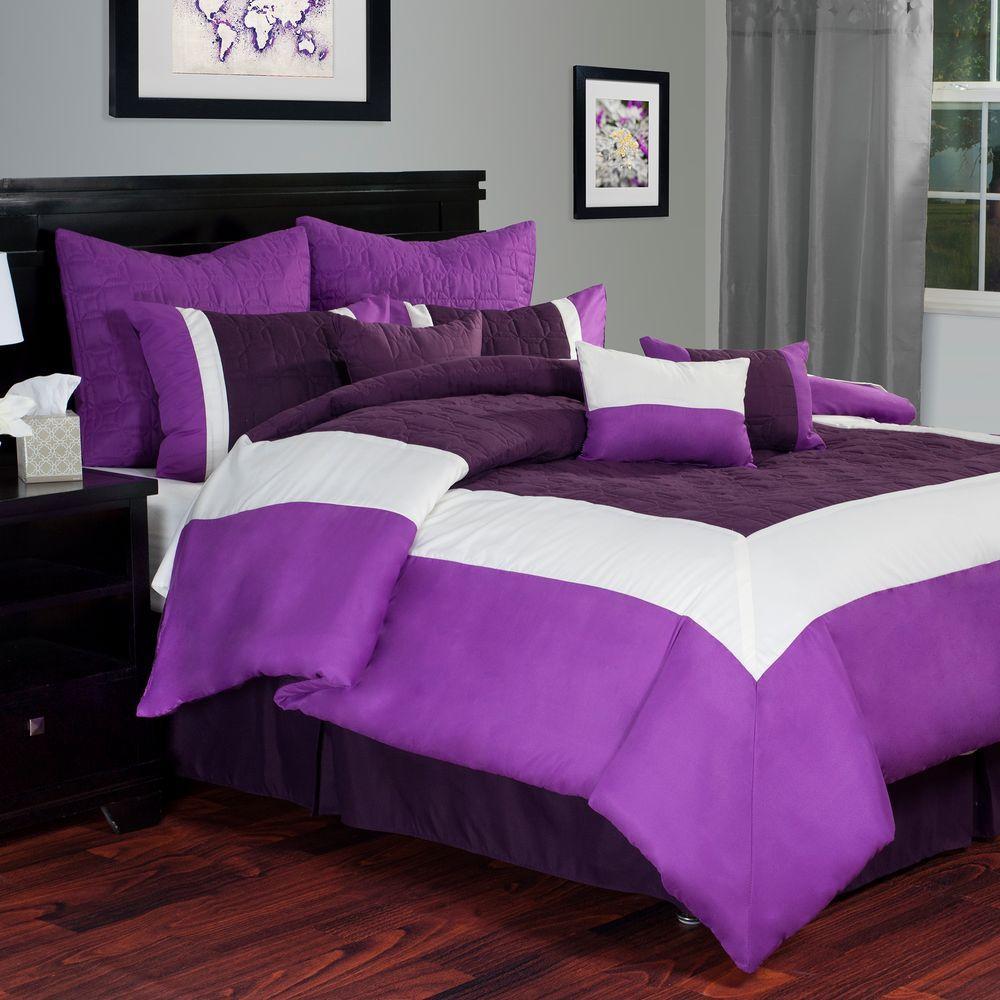 Lavish Home Hotel Purple 9 Piece Queen Comforter Set 66