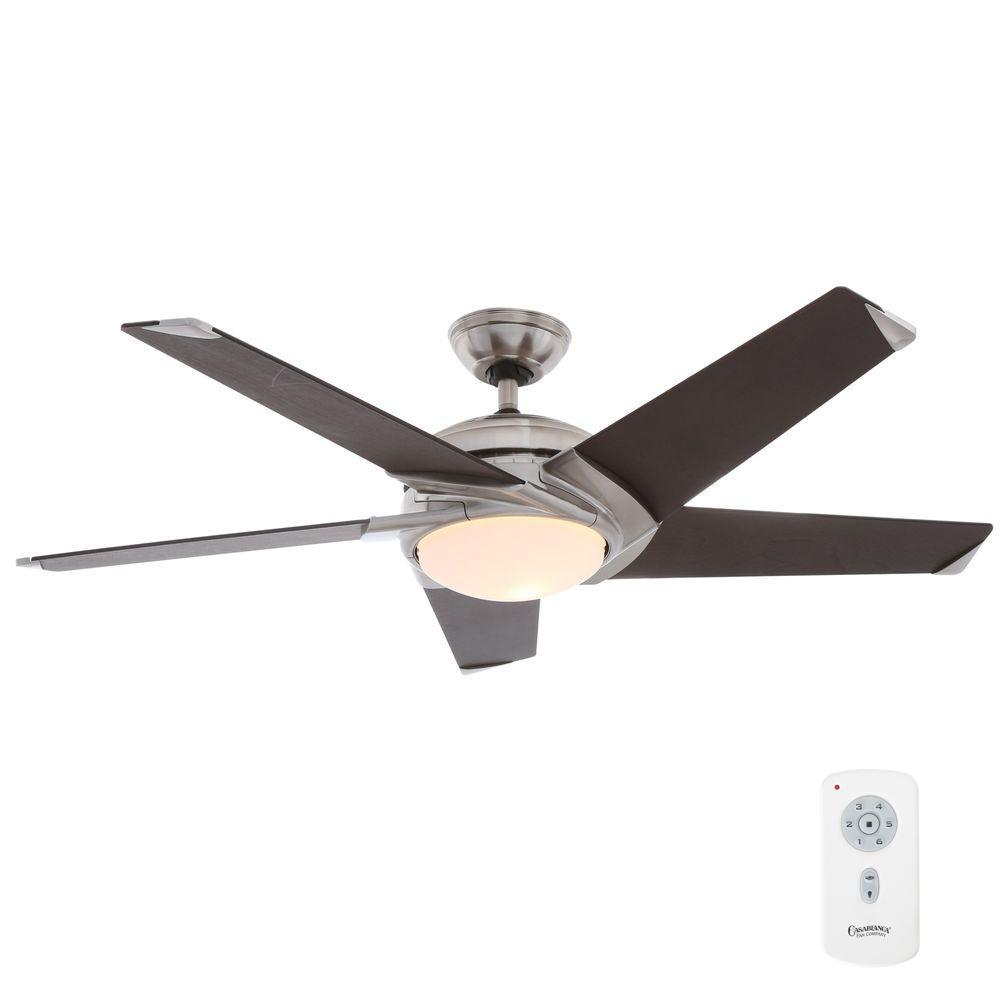 Casablanca stealth 54 in indoor snow white ceiling fan with indoor brushed nickel ceiling fan with light kit and universal wall control mozeypictures Choice Image