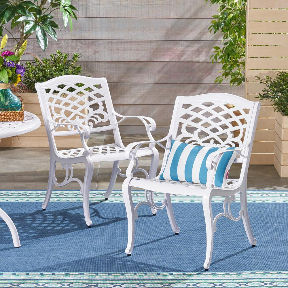 Le House Phoenix White Armed Aluminum Outdoor Dining Chair 2