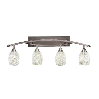 4-Light 37.75 in. Brushed Nickel Vanity Light with 5 in. Natural Fusion Glass