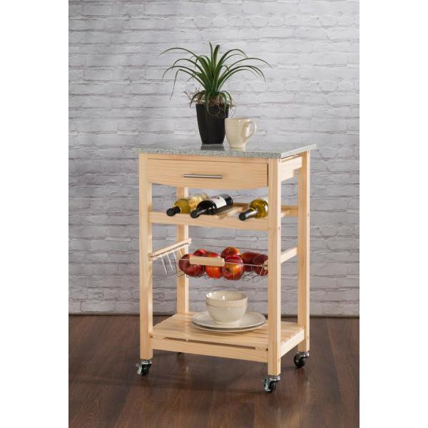 Kitchen Trolley Laminates: Kings Brand Furniture Black Wood With Marble Laminate