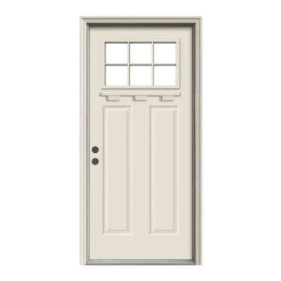 """ 36 in. x 80 in. 6 Lite Craftsman Primed Steel Prehung Right-Hand Inswing Front Door w/Brickmould and Shelf"""