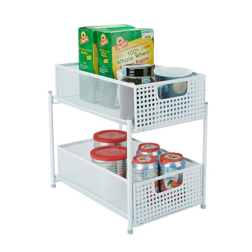 Mind Reader 2-Tier White Mesh Cabinet Storage Organizer with Pull-Out Basket