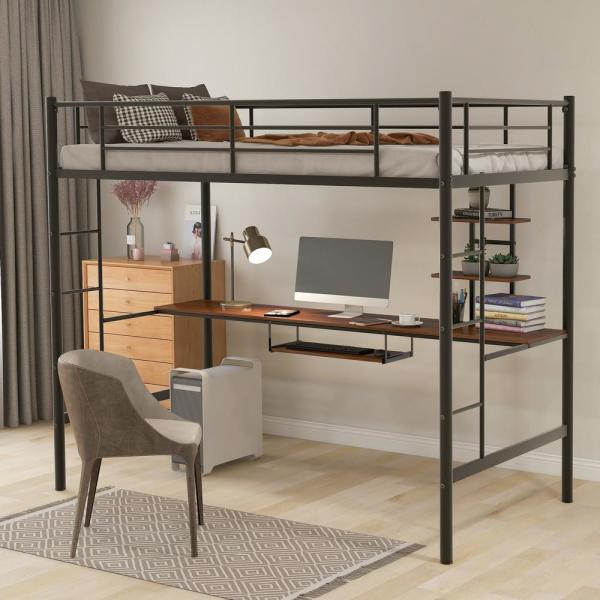 Harper Bright Designs Black Twin Loft Bed With Desk And Shelf Mf193081aab The Home Depot