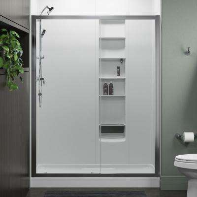 Whiston 60 in. x 74.875 in. Frameless Sliding Shower Door in Silver with Handle
