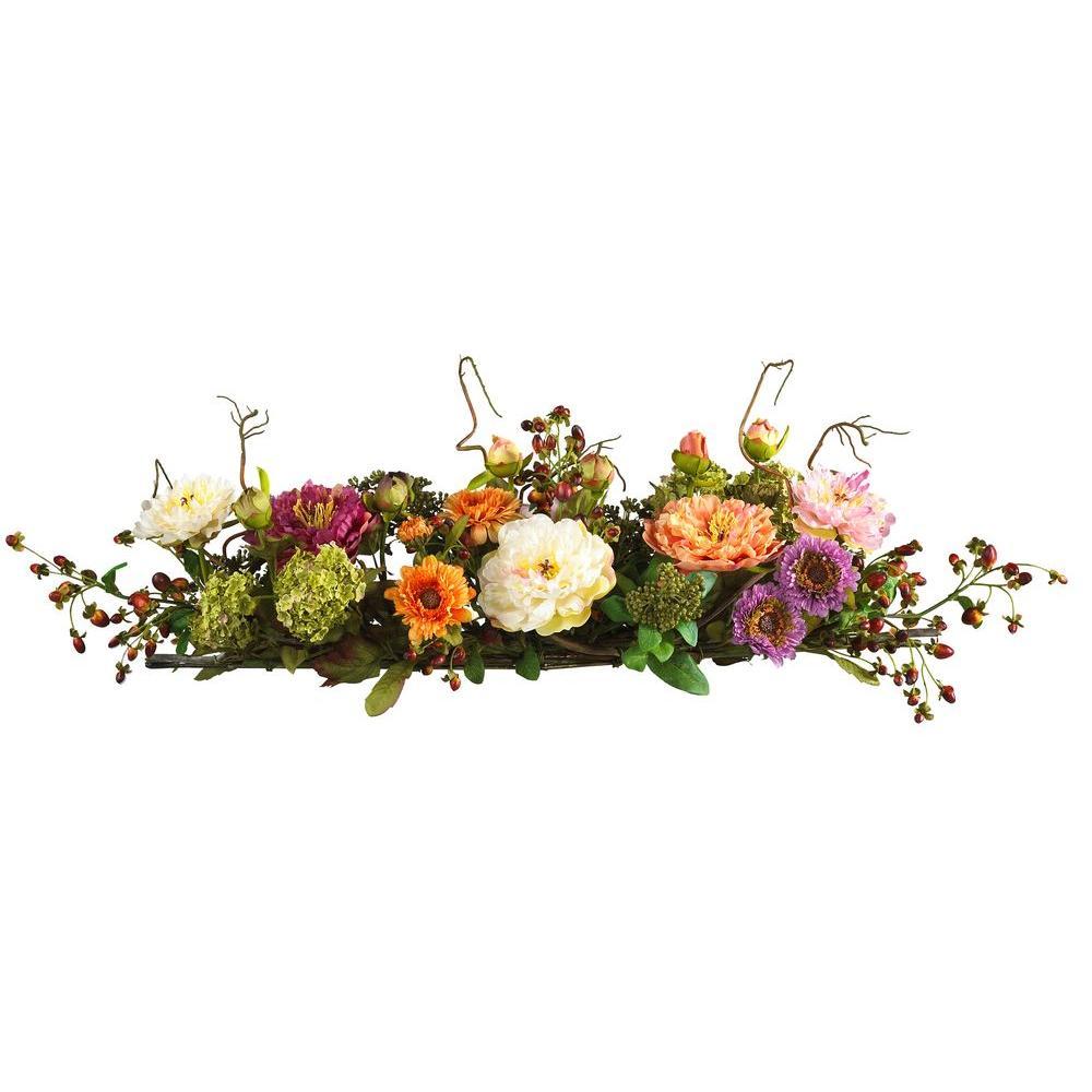 Nearly Natural 3 Ft Peony Centerpiece Silk Flower Arrangement 4665 The Home Depot